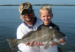 Connor and Scott with Large Mosquito Lagoon Black Drum